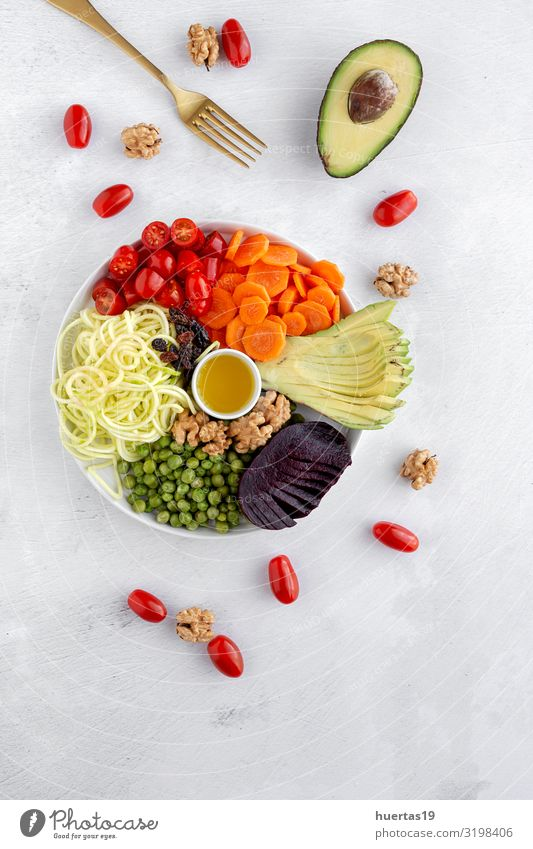 Raw vegan salad with assorted vegetables Healthy Eating Green White Red Food Lifestyle Wood Natural Above Nutrition Fresh Vantage point Delicious Kitchen