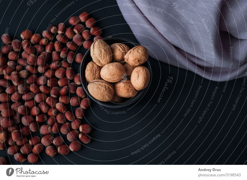 Hazelnut isolated on black background. Set or collection. Food Dessert Organic produce Vegetarian diet Diet Fasting Finger food Hot Chocolate Coffee Plate