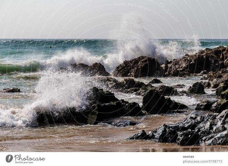 whipping waves on the beach with rocks Vacation & Travel Beach Ocean Nature Landscape Water Rock Waves Coast White crest Trevone Cornwall Maritime Inject Day