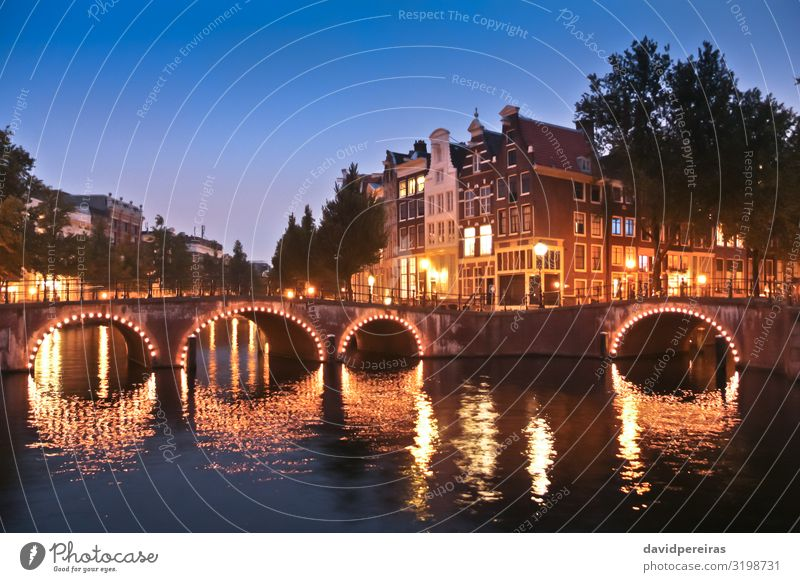 Amsterdam canals and bridges at night Vacation & Travel Tourism House (Residential Structure) Town Bridge Building Architecture Street Old Blue Yellow