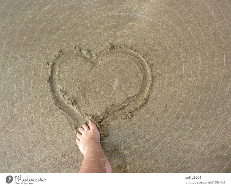 amorous Feet Toes Beach Sign Heart Rutting season Love Dream Happy Joie de vivre (Vitality) Infatuation Romance Emotions Communicate Transience Sand Sandy beach