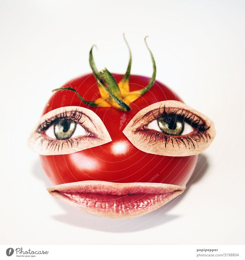 Red Food Face Eating Eyes Funny Exceptional Head Crazy Mouth Vegetable Vegetarian diet Trashy Dinner Tomato Lunch