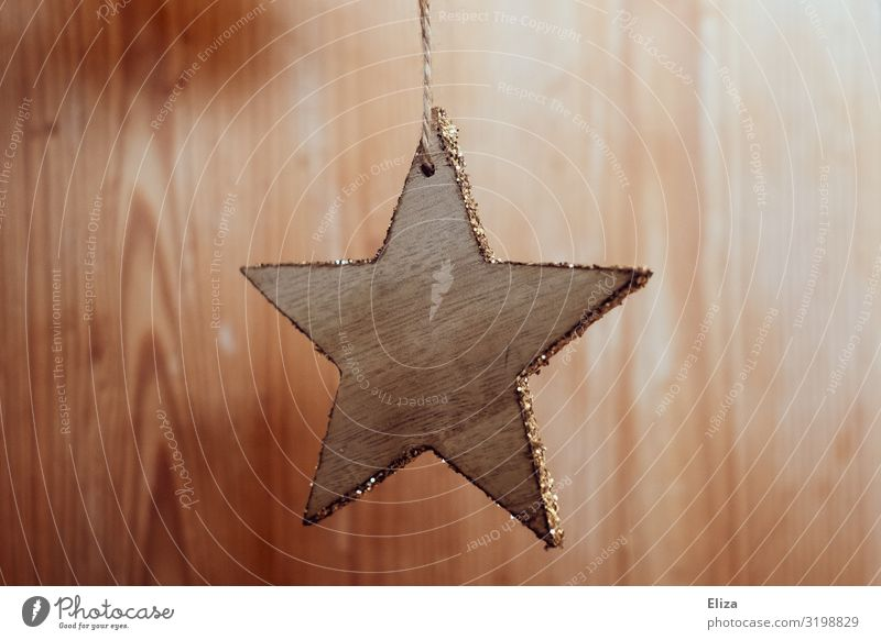 A star-shaped wooden Christmas tree pendant with a gold glittering edge Christmas & Advent already Christmas decoration Christmas tree decorations Trailer