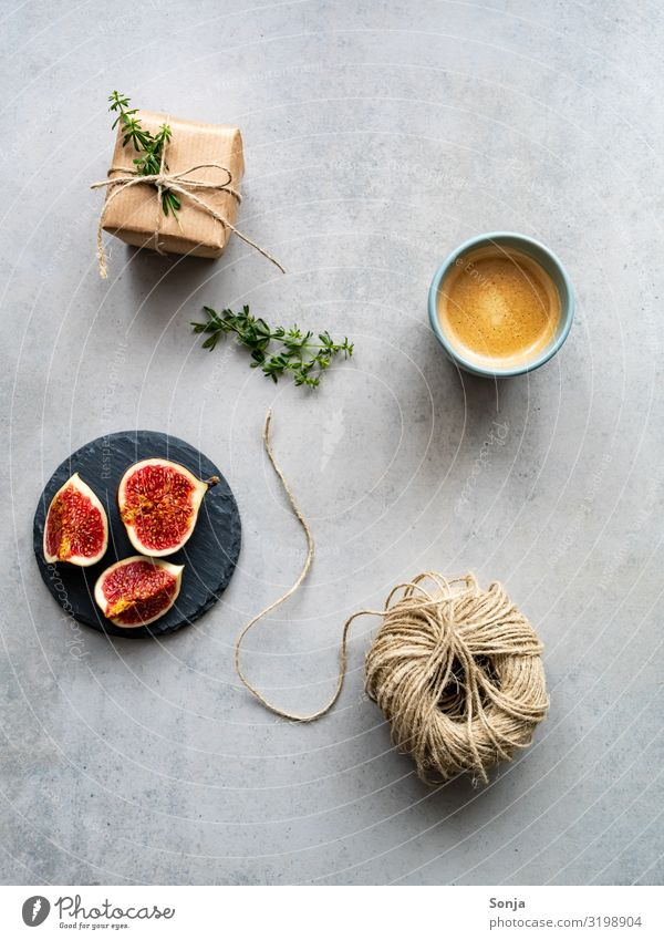 Fresh figs with a cup of coffee and gift Food Fruit Fig To have a coffee Beverage Hot drink Coffee Plate Cup Lifestyle Mother's Day Christmas & Advent Wedding