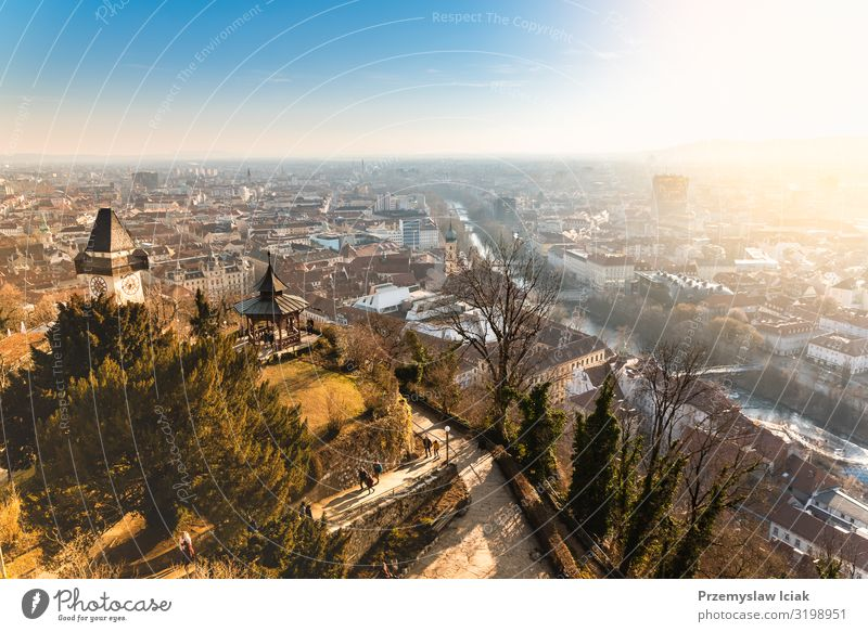 View from the Schlossberg to the city of Graz, travel destination. Austria Antenna Architecture Blue Building capital center Christmas City Destination Europe
