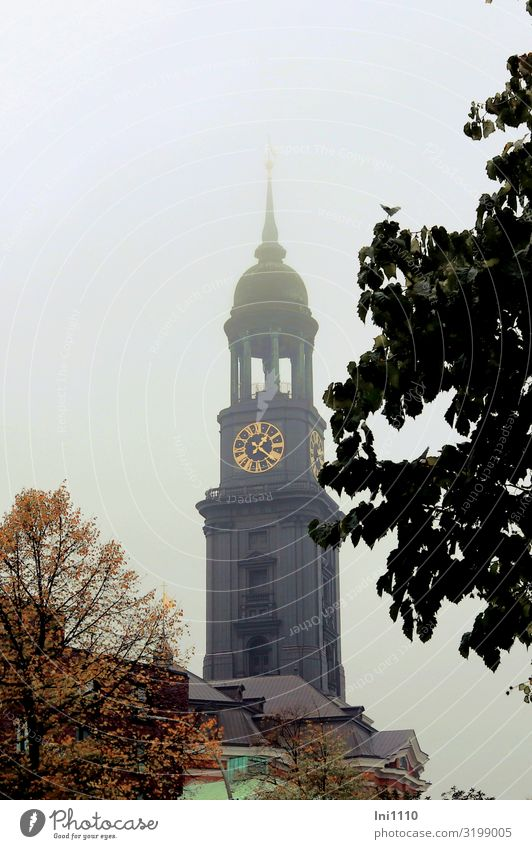 Michel in the fog | UT Hamburg Port City Deserted Church Tower Saint Michael Facade Stone Concrete Metal Steel Yellow Gray Red Black White Landmark