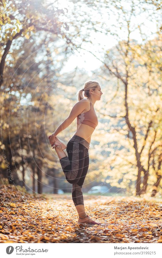 Young woman stretching after workout in the park Athletic Fitness Life Sports Track and Field Sportsperson Jogging Feminine Youth (Young adults) Woman Adults 1