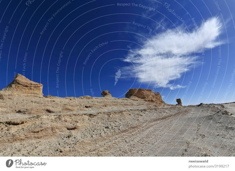 Cirrus uncinus cloud and yardangs-Qaidam basin-Qinghai-China-579 Sky Vacation & Travel Nature Blue Colour Beautiful White Landscape Sun Relaxation Clouds