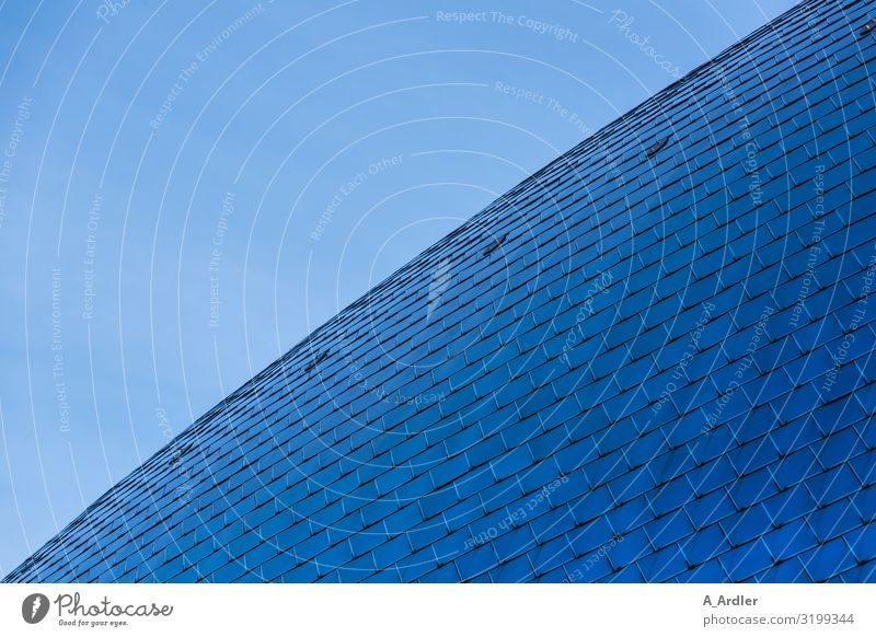 blue arched roof made of steel plates Technology Work of art House (Residential Structure) Manmade structures Building Architecture Museum Wall (barrier)
