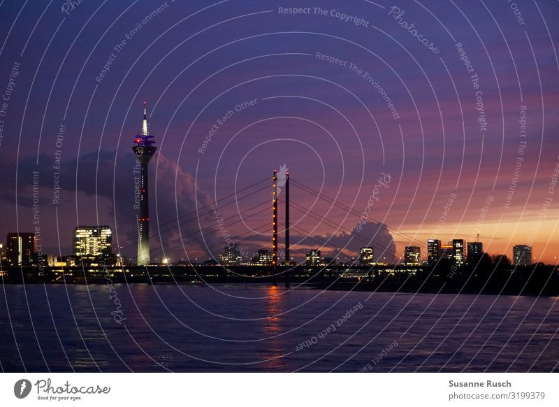 Night sky over Düsseldorf Lifestyle Luxury Vacation & Travel Tourism Sightseeing City trip Sunset River Duesseldorf Town Skyline Landmark Rheinturm Moody