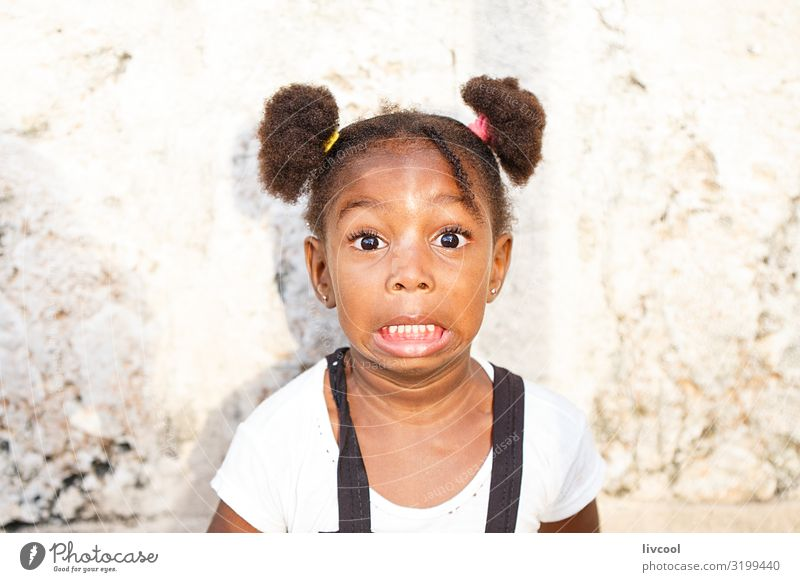 girl with surprise face , cuba Lifestyle Style Beautiful Playing Vacation & Travel Trip Island Child Human being Feminine Girl Infancy Skin Head