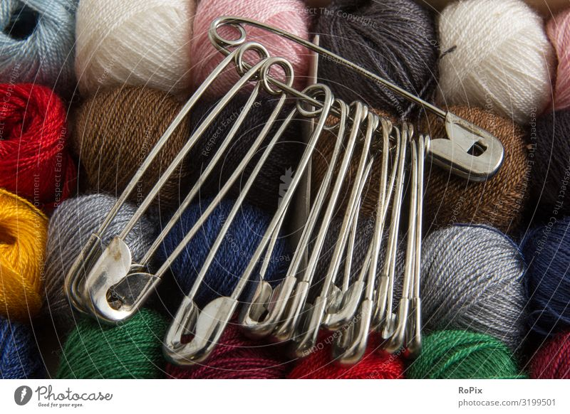 Old safety pins and sewing thread. yarn threads textile twine colors colours Sewing Art manner art lessons Lessons School Infancy Creativity Tailor free time