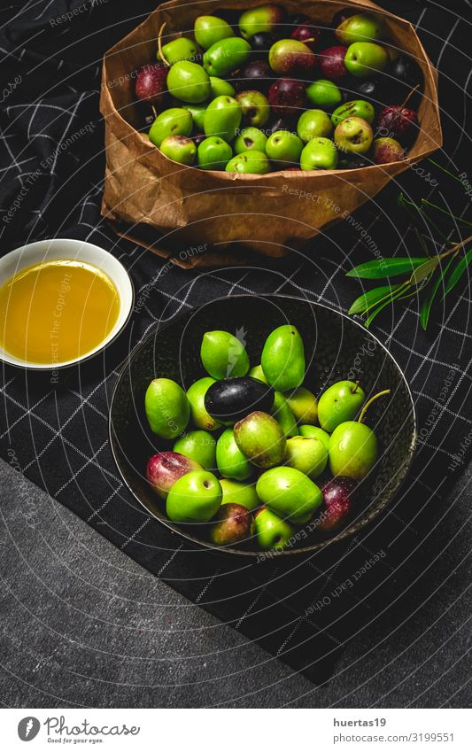 Fresh Spanish extra virgin olive oil with olives Food Vegetable Fruit Nutrition Vegetarian diet Diet Bowl Lifestyle Healthy Eating Nature Leaf Delicious Natural