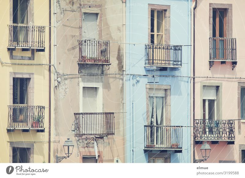 balkonies Vacation & Travel Sightseeing Italy Italian Sardinia pink Small Town House (Residential Structure) Facade Balcony Window Old Authentic Exceptional