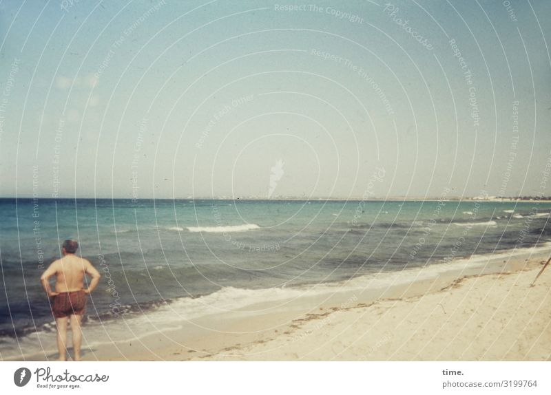 beach perch Masculine 1 Human being Environment Nature Sand Sky Horizon Beautiful weather Waves Coast Beach Ocean Swimming trunks Observe Looking Stand