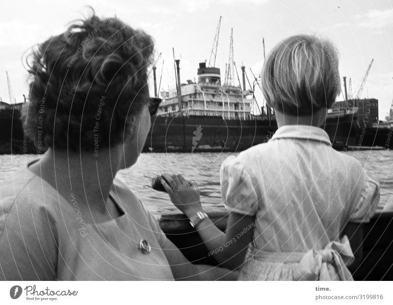 peeking Feminine Girl Woman Adults 2 Human being Navigation Passenger ship Harbour Dress Jewellery Sunglasses Brunette Blonde Short-haired Observe Discover