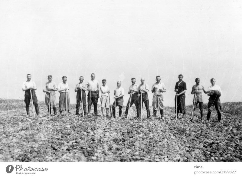 back to the roots | nothing comes from nothing Farm labor Spade Stand acre thirteen sunny Horizon Group photo Working equipment Summer Agriculture Laughter