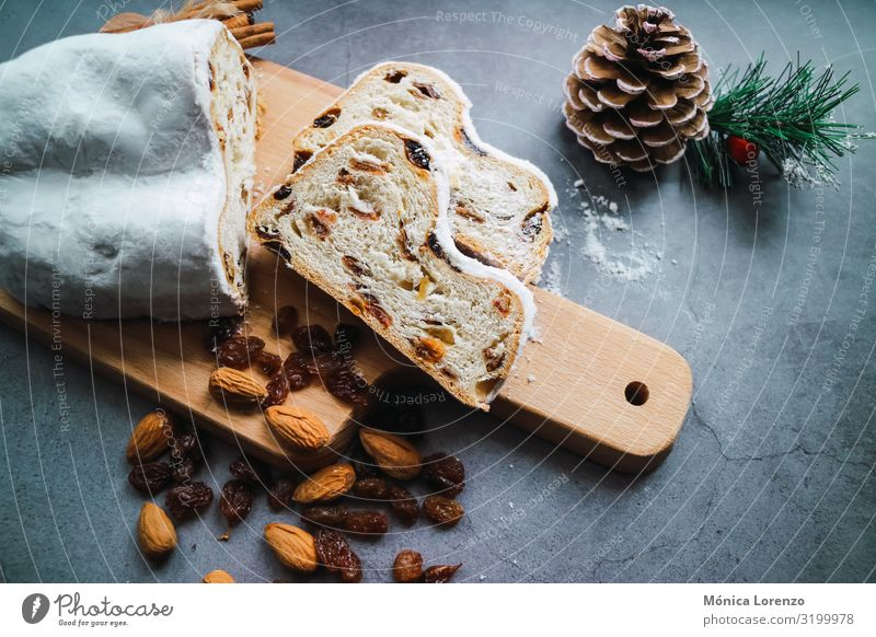 Christmas stollen cake with cinnamon, anise and almonds. Fruit Bread Dessert Herbs and spices Winter Feasts & Celebrations Tradition Sugar ginger Cinnamon sweet