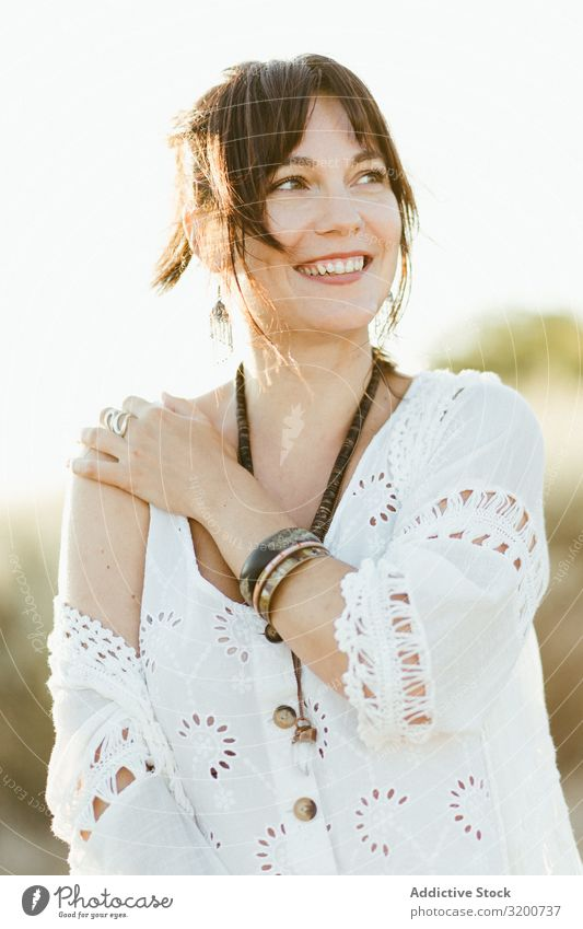 Charming smiling woman with trendy accessories outdoors Woman Smiling Accessory Hip & trendy Portrait photograph Beautiful Model Happy white clothes Day Summer