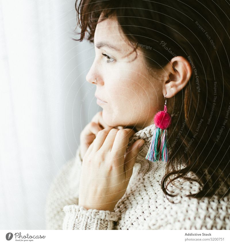 Portrait of beautiful woman with handmade earring Portrait photograph Woman Earring Self-made Beautiful Profile Dream Youth (Young adults) Brunette Thread