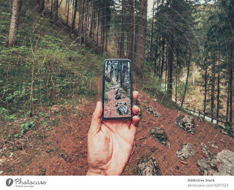 Hiker taking photo while walking in forest hiker Forest Walking traveller Take a photo Picturesque Footpath Alps Dolomites Italy Lifestyle PDA Technology