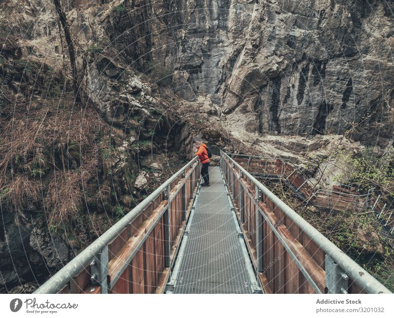 Tourist on hiking path among nature landscape Hiking Lanes & trails Nature Landscape traveller Footpath surrounded Tree Dolomites Italy Alps Sports hiker Action