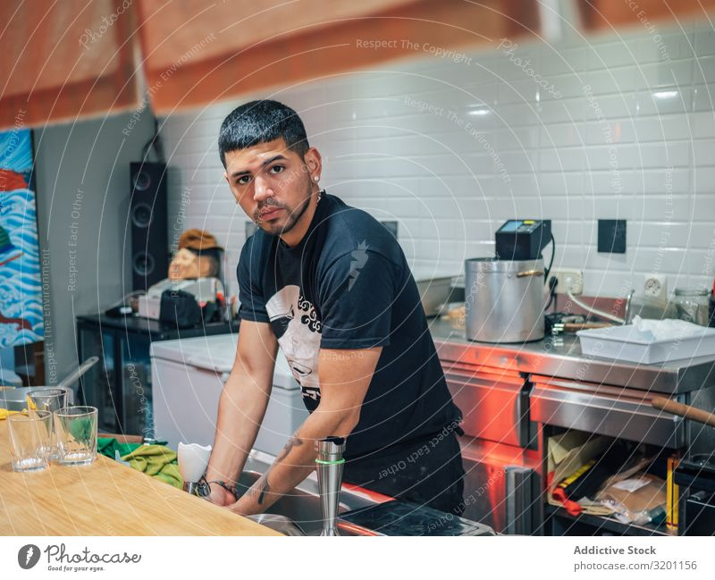 Male washing hands in kitchen Man Washing Restaurant Hand Cooking Japanese Dish staff Food Meal Kitchen Ethnic Youth (Young adults) Human being handsome