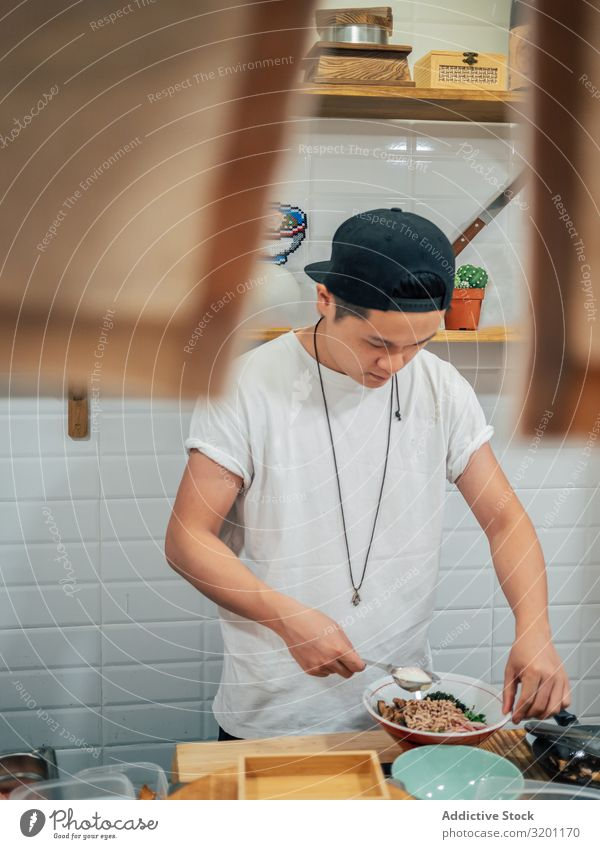 Asian cook working in kitchen Man Cook Food Work and employment Japanese Dish Kitchen Restaurant