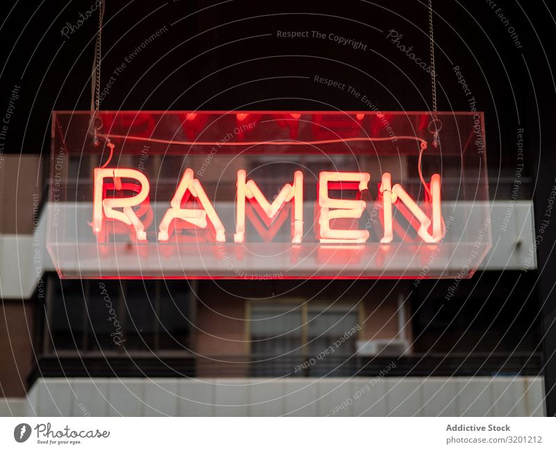 Neon signboard ramen Signage Restaurant Name Café title Japanese Food Dish Illuminate Glass Red Light Hanging inviting indicating Advertising brand Tradition