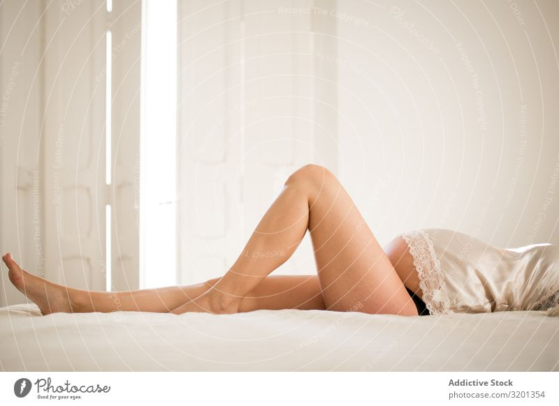 Sensual pregnant woman lying on bed Woman Pregnant Bed Relaxation To enjoy Underwear Sleep Home Safety (feeling of) Cozy maternity expecting tummy