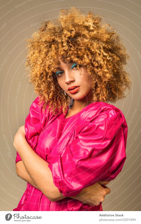 Retro female embracing torso Woman outfit Make-up Bright Curly hair Torso Youth (Young adults) Model To enjoy Colour Vintage Style Hip & trendy Fashion vogue