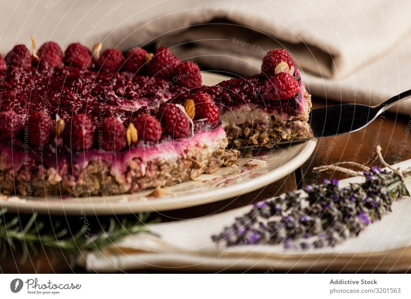 Fruit berry pie and branch of lavender on table Cake Vegan diet Raspberry Food Dessert Sweet Fresh Red Delicious Berries Home-made Baked goods Decoration Wood