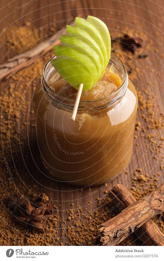 Delicious applesauce in glass jar and cinnamon Natural Juicy Cinnamon Fruit Apple Food Dessert Green Sweet Vegetarian diet Fresh Home-made Decoration yummy Raw