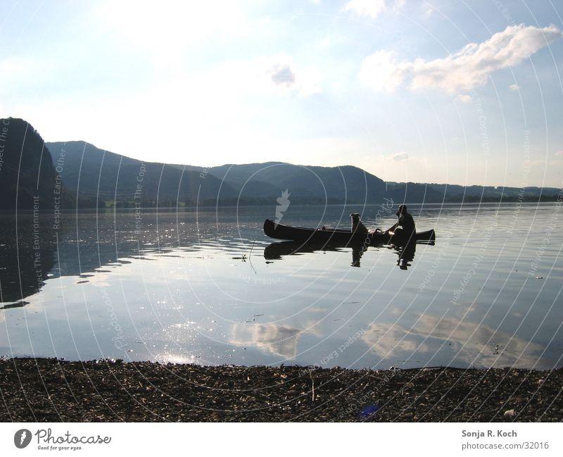 Big friends Summer Lake Reflection Canoe Watercraft Dog Sun