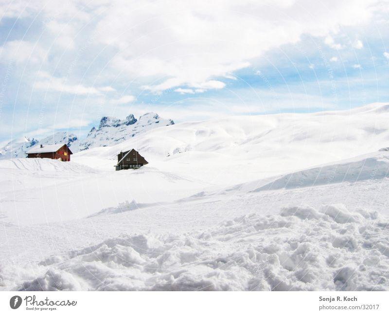 winter landscape Winter Switzerland Mountain Snow Ski run Ski resort Lake Melchsee