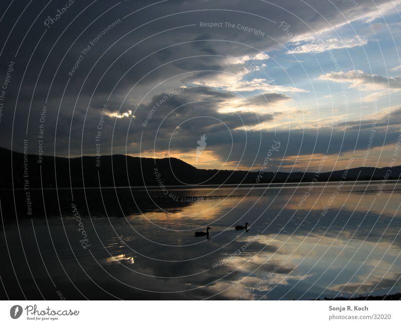 Rain in your luggage Raincloud Lake Sunset Reflection Lake Kochelsee Evening Water
