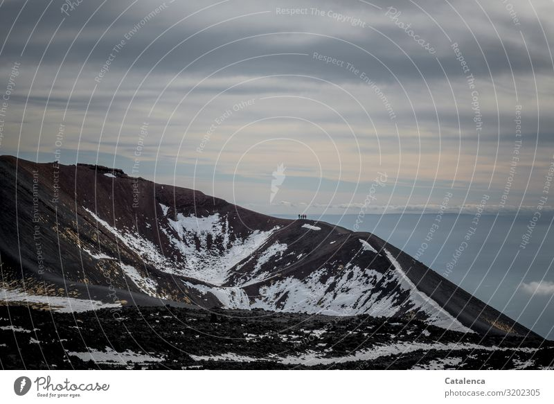 ice age | vanishing Tourism Trip Winter Snow Mountain Hiking Androgynous 5 Human being Group Nature Landscape Elements Earth Sky Clouds Horizon Bad weather