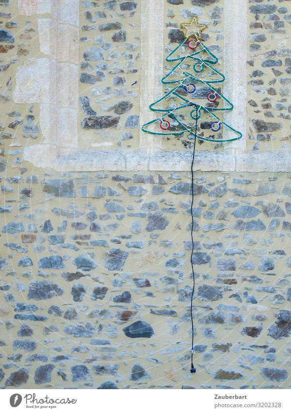 Oh fir tree Christmas & Advent Christmas fairy lights Christmas tree Christmas decoration Wall (barrier) Wall (building) Facade Decoration Illuminant Cable