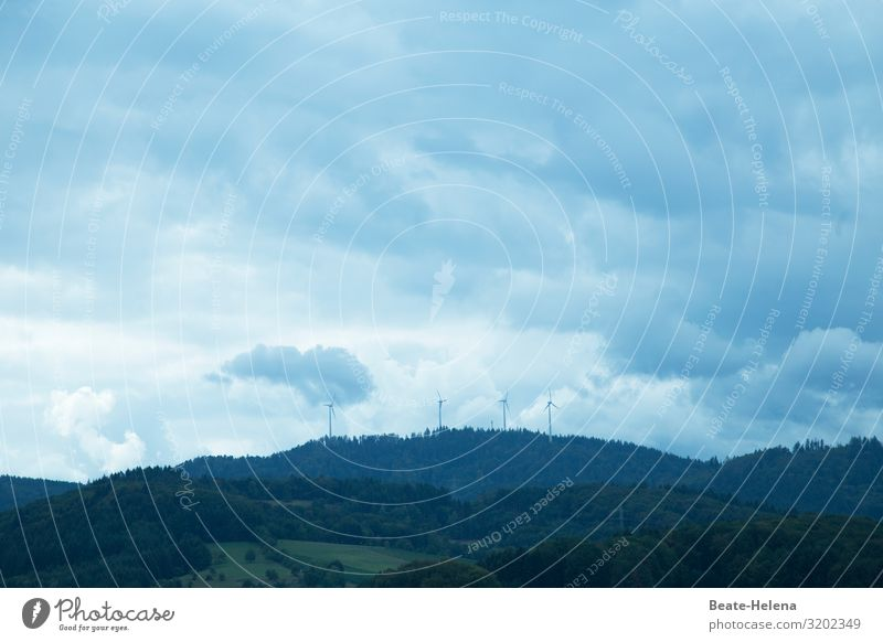 heavenly Renewable energy Wind energy plant Nature Landscape Elements Sky Clouds Sun Weather Forest Work and employment Build Observe Looking Authentic Gigantic