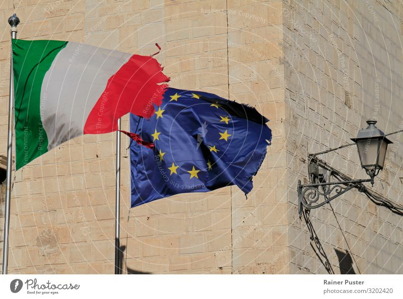 EU and Italian flags in the wind Bari Italy European flag Sign Flag Ensign Blue Green Red Agreed Loyal Together Solidarity Responsibility City Alliance Fame