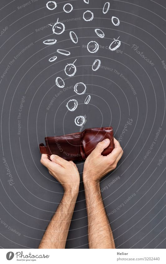 Earn money with a wallet Arm Hand To fall To hold on Rich Brown Black White Avaricious Poverty Luxury Blackboard Money purse Coin Donation Monetary capital