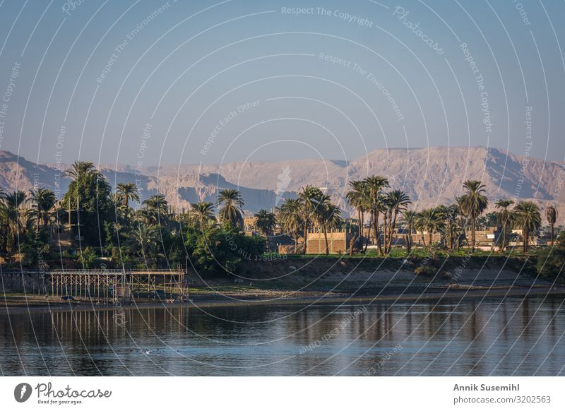 View to the west bank of the Nile in Luxor to the Valley of the Kings Work of art Architecture Nature Landscape Cloudless sky Rock River Desert Egypt Africa