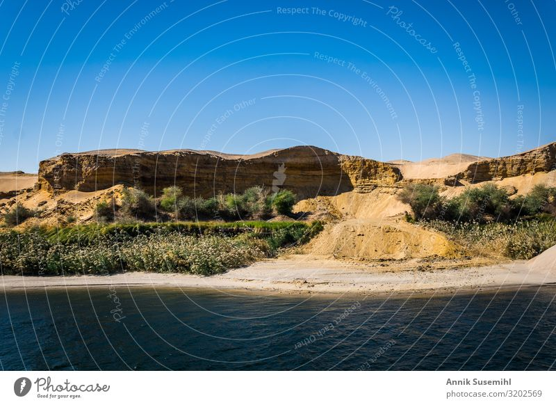 Landscape along the Nile between Luxor and Assuan Vacation & Travel Tourism Sightseeing Cruise Safari Environment Nature Earth Sand Water Cloudless sky
