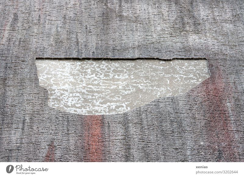 Plaster facade with hole House (Residential Structure) Wall (barrier) Wall (building) Facade Rendered facade Hideous Broken Gray Red Damage to property