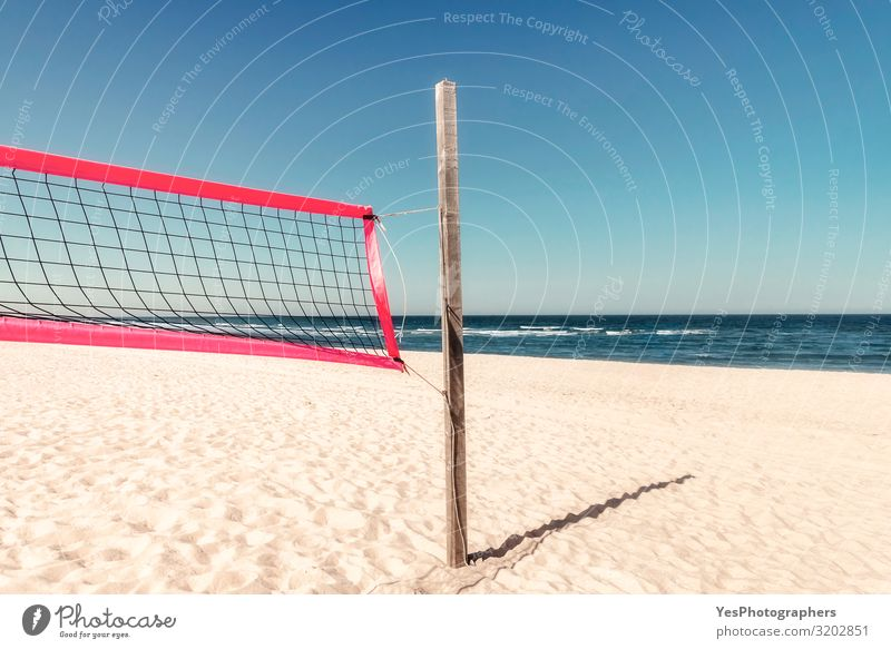 Summer beach scenery with volleyball net at North Sea on Sylt Joy Relaxation Vacation & Travel Tourism Adventure Summer vacation Beach Ocean Island Waves
