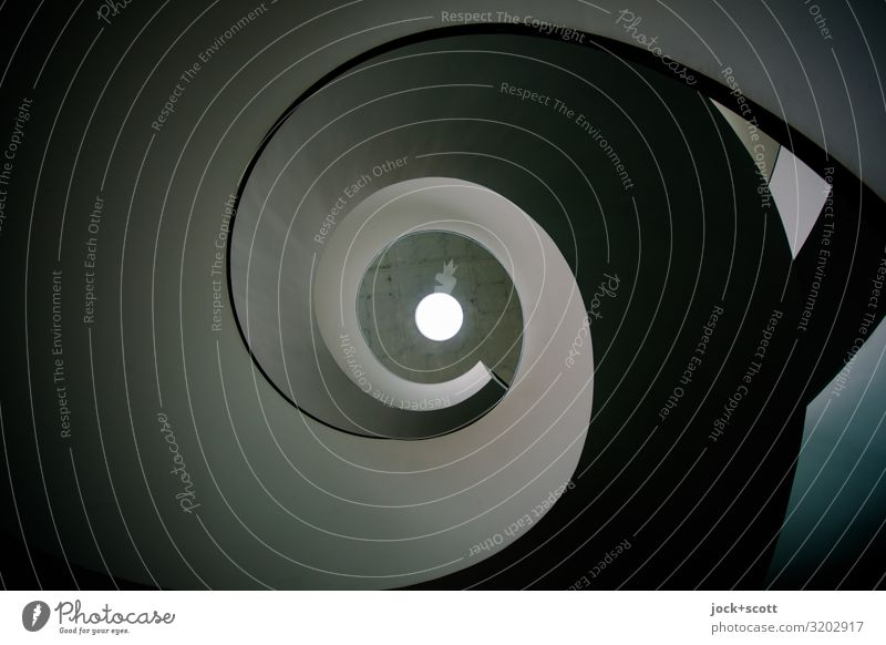 (so) in the turn of a spiral staircase Architecture built Winding staircase Concrete Stripe Spiral Circle Illuminate Exceptional conceit great Long Modern Gray