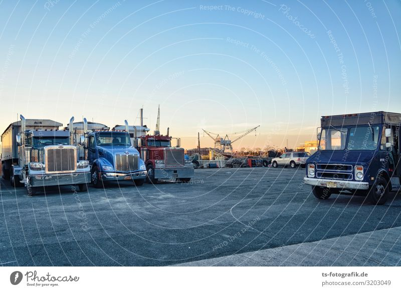 Truck stop at the harbour in Brooklyn Economy Industry Logistics Business New York City USA Outskirts Deserted Industrial plant Places Harbour Transport