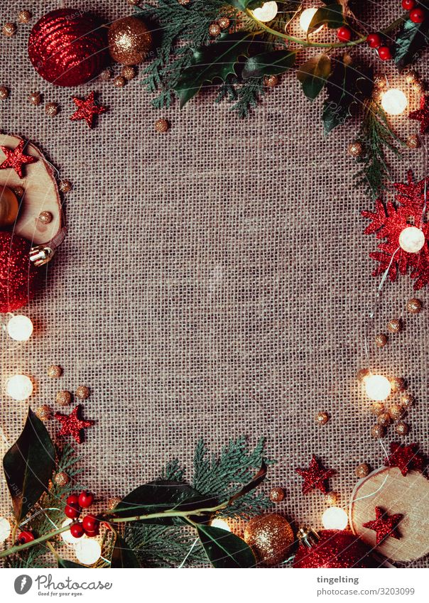 Christmas & Advent Green Red Background picture Feasts & Celebrations Design Decoration Gold Glittering Culture Stars Fir tree Frame Glitter Ball Beige
