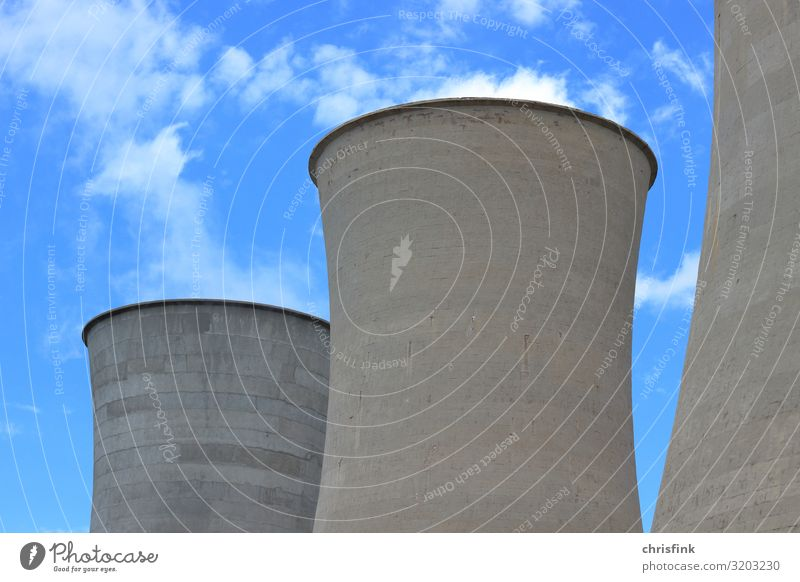 Cooling towers in front of a cloudy sky Technology Energy industry Renewable energy Energy crisis Industry Sky Climate Climate change Aggression Threat Gigantic