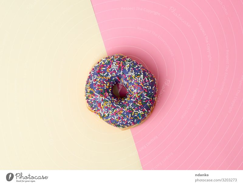 round baked donut with colored sugar sprinkles Dessert Candy Nutrition Breakfast Decoration Fresh Bright Delicious Above Yellow Pink Colour Tradition background